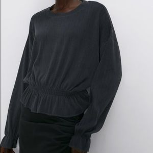Zara long sleeve ribbed top with elastized trim LG